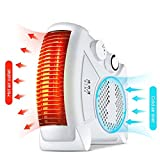 [Upgrade] KOBWA Electric Fan Heater W/ 2 Level Hot & Cool Air Setting, 750W/1450W Silent Flat Upright Warm Air Blower for Small Rooms W/ 2M/6.56FT Extra Long Cable