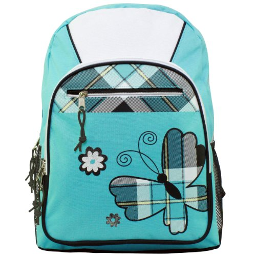 Turquoise Butterfly Student Bookbag Backpack