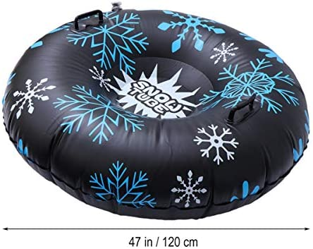 BESPORTBLE Inflatable Snow Tubes Heavy Duty Large Snow Sled with Handles for Adults Kids Winter Outdoor Fun 120cm/47Inches - Black