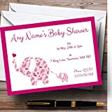 Pink Elephants Personalized Baby Shower Invitations