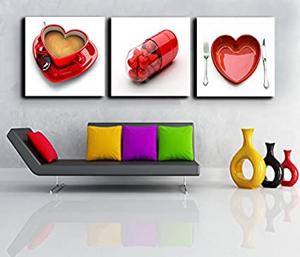 Amazon Com 3 Piece Kitchen Canvas Sweat Heart Coffee Cup Wall Art