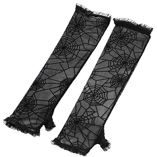 LUOEM Halloween Spiderweb Gloves Fingerless Gloves Halloween Costume Cosplay Party Gloves (Black)
