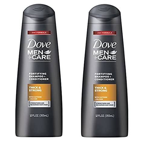 Dove Men+Care Thick and Strong Fortifying 2in1 Shampoo and Conditioner 12 FL OZ - Pack of 2 (Thick And Fuller Conditioner)