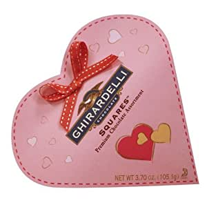 Ghirardelli Valentine's Premium Chocolate Squares, 3.7-Ounce Pink Heart Tins (Pack of 4)