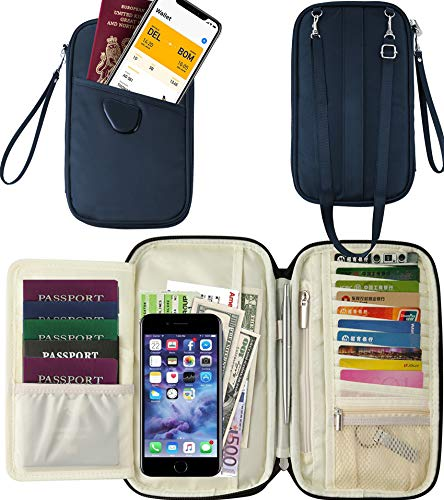 RFID Travel Passport Wallet & Documents Organizer with Neck and Hand Strap(Blue) by Athena YY