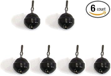 Harmony Fishing 6 Pack, Black Tungsten Round//Ball Dropshot Weights