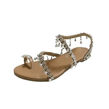 02bea221300ac Amazon.com: haoricu Women's Wedding Sandals Pearl Flats Beaded ...