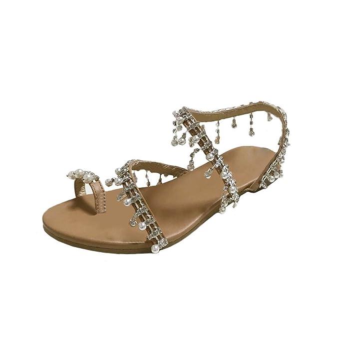 e80720a00d31f Amazon.com: Womens Summer Flat Sandals,Bohemia Beads Pearl Beach ...