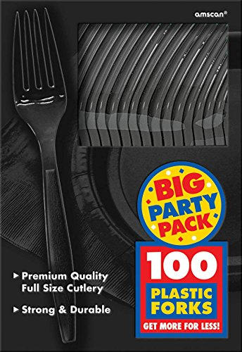 Amscan Big Party Pack 100 Count Mid Weight Plastic Forks, Black -