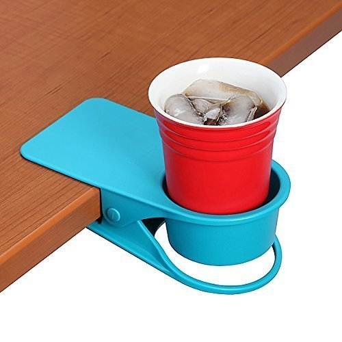 SERO Innovation Cup Clip Drink Holder - Blue - Snap to tables, desks, chairs, shelves, counters. Keep your beverage, smartphone or other small item secure and out of the (Mobile Beverage)