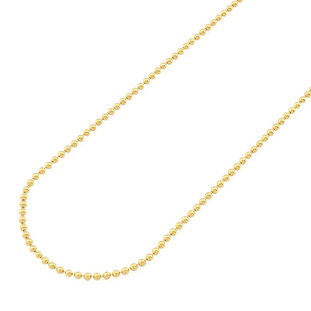 14k Fully Solid Yellow Gold 2mm Ball Beaded Chain Necklace 20-28'', 24
