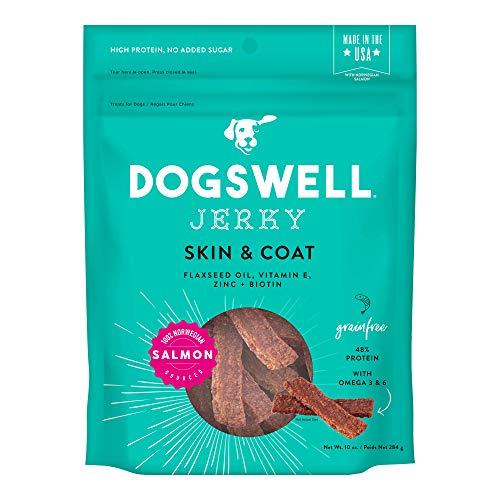 DOGSWELL Skin & Coat 100% Meaty Dog Treats Biotin & Zinc, Grain Free & Made in USA, Salmon Jerky 10 oz