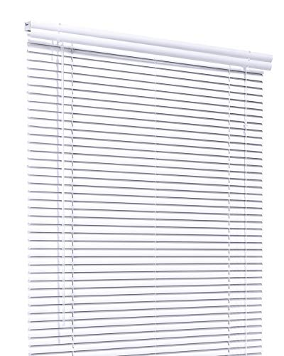 CHICOLOGY Custom Made Corded 1-Inch Aluminum Mini Blind, Blackout Horizontal Slats, Inside Mount, Room Darkening Perfect for Kitchen-Bedroom-Living Room-Office and More – 35″ W X 84″ H, White