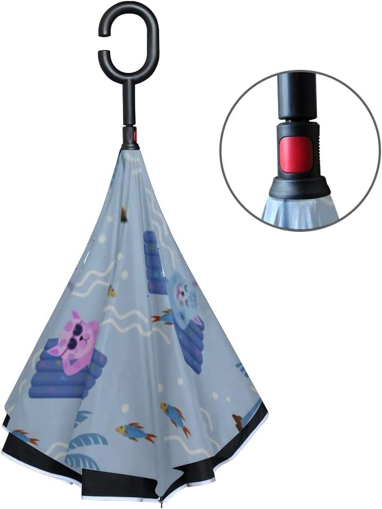 Double Layer Inverted Inverted Umbrella Is Light And Sturdy Cute Cat Floating On Air Pool Reverse Umbrella And Windproof Umbrella Edge Night Reflecti