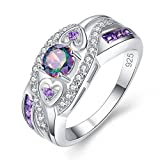 Veunora Graduation Gift 925 Sterling Silver Created 5x5mm Rainbow Topaz and Amethyst Filled Twisted Ring Band for Women