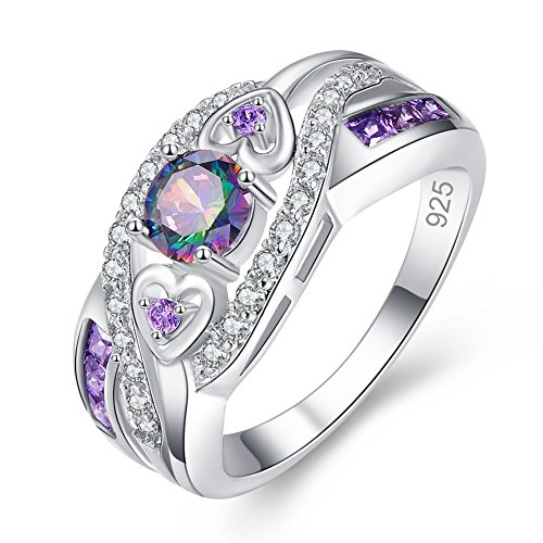 Veunora 925 Sterling Silver Created 5x5mm Rainbow Topaz and Amethyst Filled Twisted Ring Band for Women Size 9 (Claddagh Puzzle Ring)
