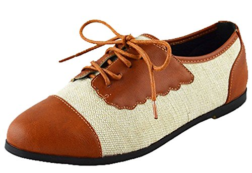 Chase & Chloe Women's Two Tone Lace Up Oxford Flat (6 B(M) US, Tan)