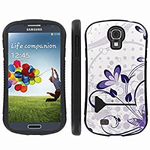 [ArmorXtreme] Hybrid ShockProof Armor KickStand Case (Purple Butterfly Flower) for Samsung Galaxy S4