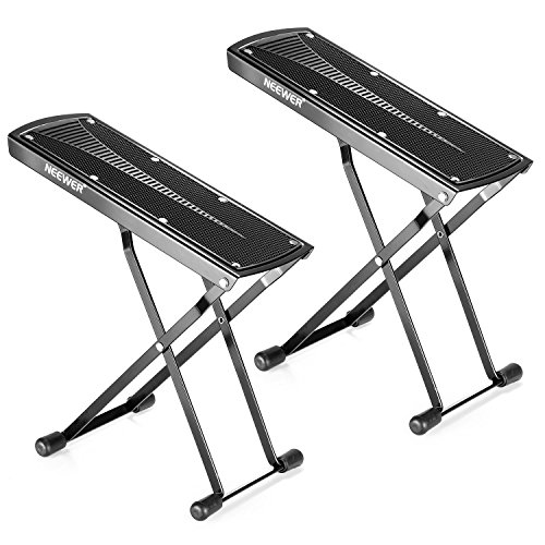 Neewer® 2 Pack Guitar Foot Rest, Made of Solid Iron, Provides Six Easily Adjusted Height Positions, Excellent Stability with Rubber End Caps and Non-slip Rubber Pad