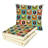 iPrint Quilt Dual-Use Pillow Football Colorful Squares Mosaic Pattern with Protective Helmets and Balls College Activity Decorative Multifunctional Air-Conditioning Quilt Multicolor
