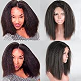 Yazi Hair Lace Front Human Hair Wigs Brazilian Kinky Straight Full Lace Wigs for Black Women Italian Yaki Full Lace Front Wig (12inch with 130% density lace front wig)