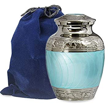 Hugs and Kisses Beautiful Light Blue Child s Cremation Urn for Human Ashes – for a Lost Son or Baby Boy – Find Comfort This Small Beautiful High Quality Urn – w Velvet Bag