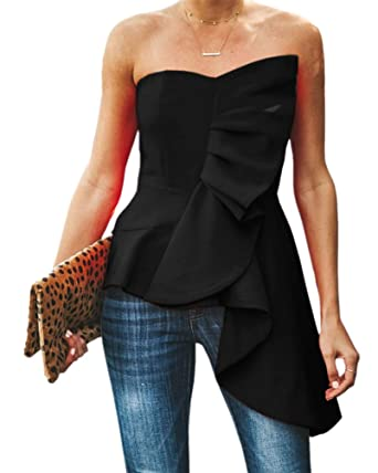 1bf054f4ee1 Valphsio Womens Ruffle Party Blouse Strapless Asymmetrical Flare Peplum Top  Shirts Black