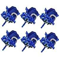 Cupcinu 6 Pcs Rose Boutonniere and Wrist Corsage for Groom Groomsman Wedding Bouquet Rose Wedding Flowers Accessories Prom Suit Decorations(RoyalBlue)