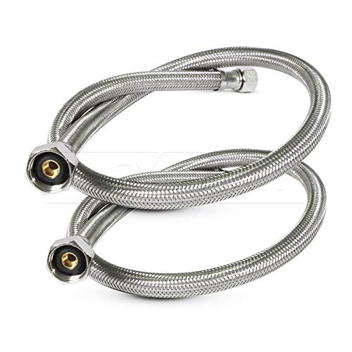 FlexCraft 27136-NL-2, Faucet Supply Line Connects Kitchen Sink To Water Supply, Braided Faucet Connector With 1/2 In x 3/8 In Brass Nut, Stainless Steel 36 In (Pack Of 2)