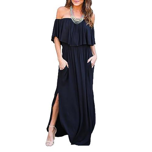 Blak Long Strapless Casual Maxi Dresses