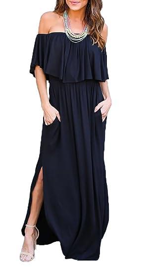 Oyanus Womens Off The Shoulder Ruffles Pockets Dress Side Split Maxi