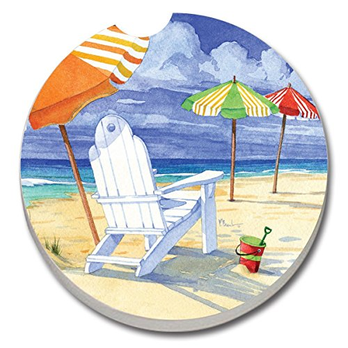 (Counterart Absorbent Stone Car Coaster- Beach Umbrellas -Set of 2)