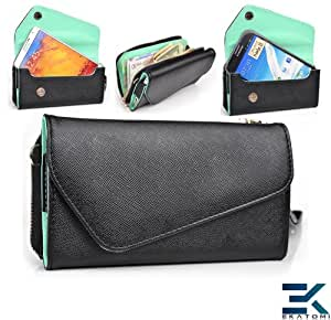 Women's Wallet Wrist-let Purse Shoulder Bag fits Samsung Galaxy Note / Note 2 / Note 3 Phone Case - BLACK & MINT GREEN