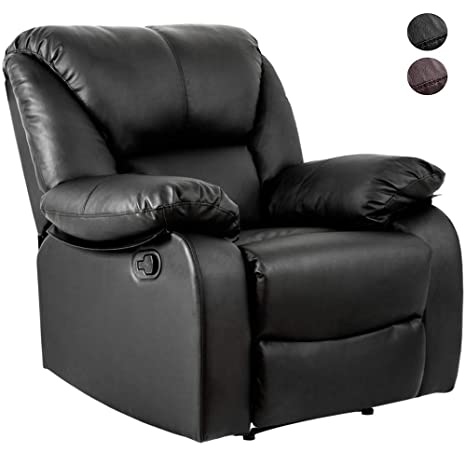 Remarkable Lentia Leather Manual Recliner Armchair Push Back Reclining Chair 90 X 94 X 102 Cm Pu Leather Black Alphanode Cool Chair Designs And Ideas Alphanodeonline