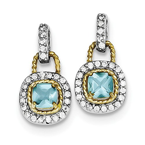 Sterling Silver Vermeil Blue CZ Earrings