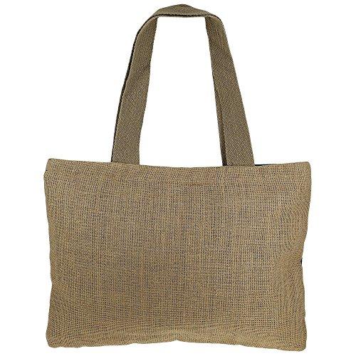 Shimmer fibra naturale iuta Tote Bag con oro fiori grafica con trapuntato imbottito Fodera