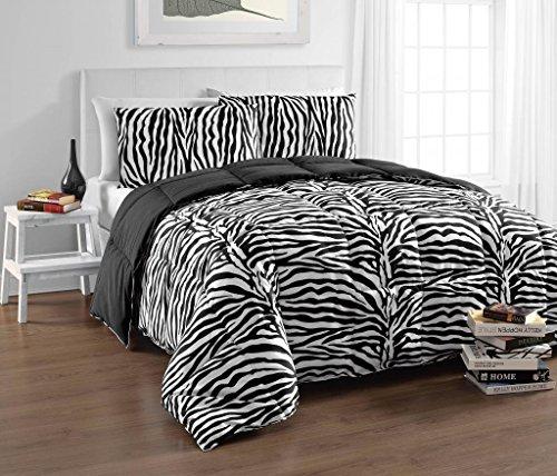 Cozy Beddings BH5024-Q Zebra Reversible Down Alternative Animal Print Comforter Set, Queen, Black/White