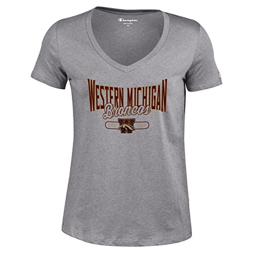 Champion NCAA Women's University Short Sleeve Tagless Lady's V-Neck Tee, Western Michigan Broncos, X-Large