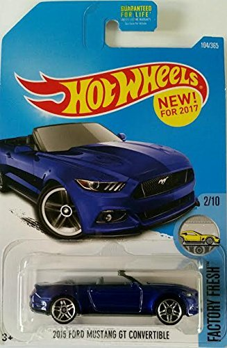Ford Mustang Gt Convertible (Hot Wheels 2017 Factory Fresh 2015 Ford Mustang GT Convertible 104/365, Blue)