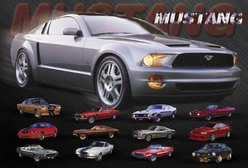 Hot Stuff 2477-16x20-CB Mustang Evolution Poster by Hot Stuff Enterprise Mustang Evolution Poster