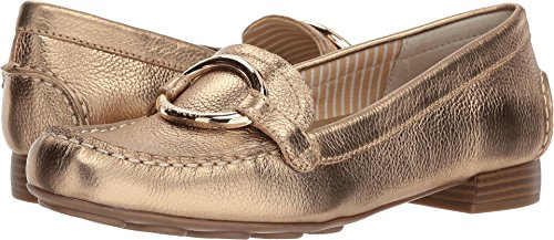 Anne Klein Women's Harmonie Loafer, Gold Leather, 7.5 M US