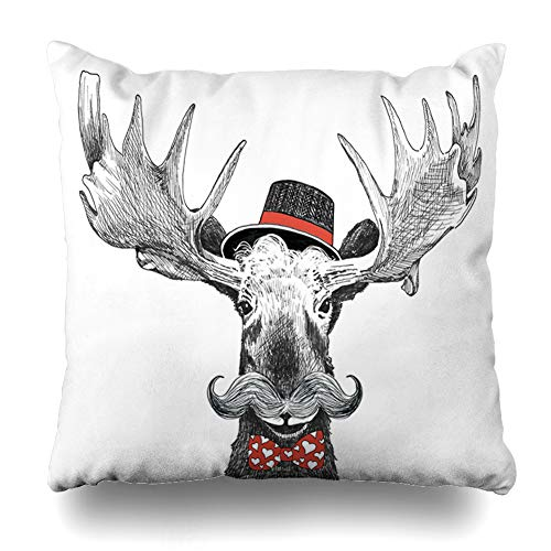 - Ahawoso Throw Pillow Cover Holiday Red Moustache Valentines Day Hipster Moose Style Large Holidays Mustache Antlers Big Design Home Decor Cushion Case Square Size 18