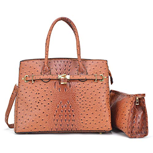(Dasein Designer Satchel Handbags Vegan Leather Purses Shoulder Bags for Women with Shoulder Strap Brown Ostrich )
