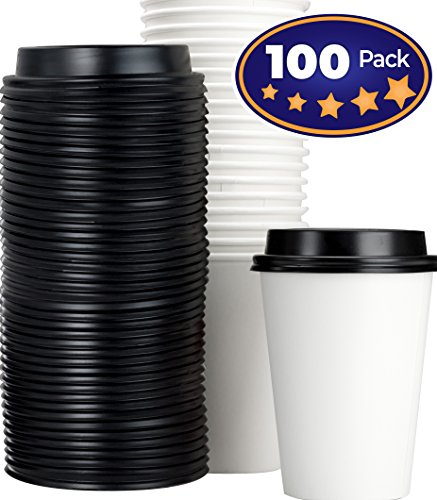 (Restaurant Grade 12 Oz Paper Coffee Cups With Recyclable Dome Lids. 100 Pack By Avant Grub. Durable, BPA Free Disposable Cups For Serving Hot Drinks At Kiosks, Shops, Cafes, and)