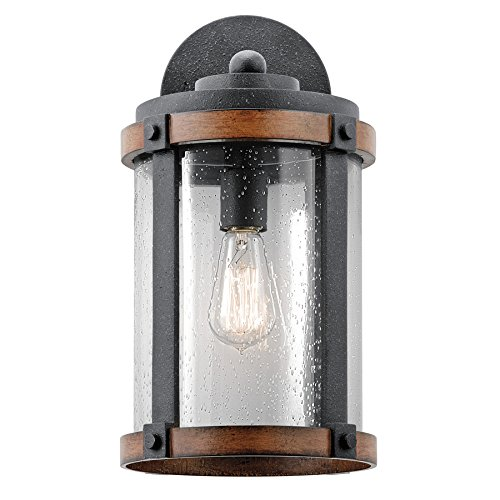 Kichler Lighting Barrington Distressed Black and Wood Outdoor Wall Light, 16'' H by Kichler