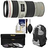Canon EF 70-200mm f/4L IS USM Zoom Lens with 3 Hoya UV/CPL/ND8 Filters + Backpack + Kit for EOS 6D, 70D, 5D Mark II III, Rebel T3, T3i, T4i, T5, T5i, SL1 DSLR Cameras