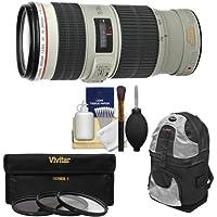 Canon EF 70-200mm f/4L IS USM Zoom Lens with 3 Hoya UV/CPL/ND8 Filters + Backpack + Kit for EOS 6D, 70D, 5D Mark II III, Rebel T3, T3i, T4i, T5, T5i, SL1 DSLR Cameras