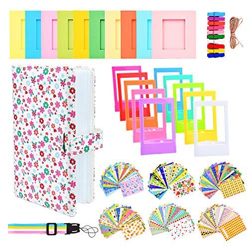 Sunmns Accessories Bundle Kit Set for Fujifilm Instax Mini 9 8 90 70 Films, Accessory Include Album, Film Stickers, Desk Frames, Hanging Frame, Strap (White Floral)