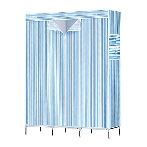 ZOUQILAI Portable Wardrobe Bedroom Clothes Closet Home Armoire with Cover to Prevent from Rust Non Woven Fabric Blue -