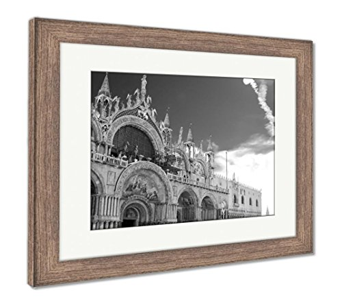 Ashley Framed Prints San Marco Cathedral Venice, Wall Art Home Decoration, Black/White, 26x30 (frame size), Rustic Barn Wood Frame, AG5569180